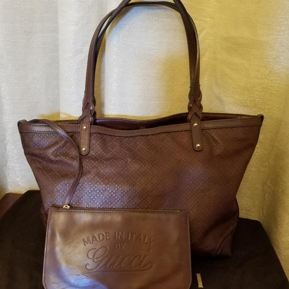 Gucci Handbags - Gucci Leather Diamante Large Craft Tote